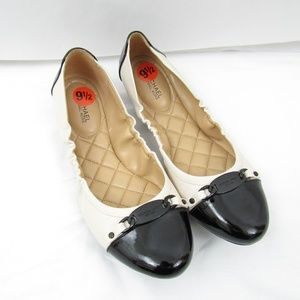 Color Blocked Quilted Black Ivory Ballet Flats